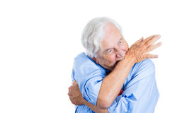Senior mature, elderly man very nervous, crazy, stressed, and biting his arm Stock Photography
