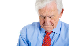 senior mature, elderly man very sad and depressed and almost to the point of crying Royalty Free Stock Photos