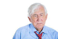 Senior mature, elderly man very sad and depressed and almost to the point of crying Royalty Free Stock Photography
