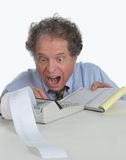 Senior mature man working on Financial Report Royalty Free Stock Photography