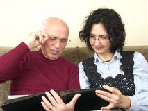 Senior and mature woman sharing old memories Royalty Free Stock Image