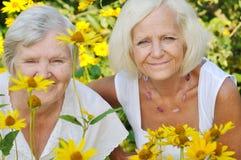 Senior and mature women in garden. Royalty Free Stock Photos