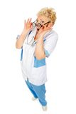Senior doctor with glasses surprise royalty free stock images