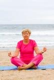 Senior meditation stock photo