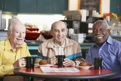 Senior men drinking tea together. In cafeteria royalty free stock images