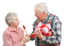 Senior men give gifts Royalty Free Stock Photography