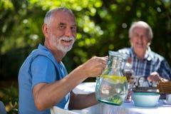 Senior men having breakfast in garden Royalty Free Stock Photos