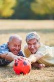 Senior men having fun while playing soccer Royalty Free Stock Images
