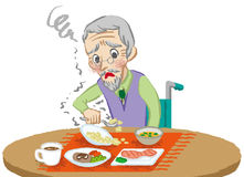 Senior men meals trouble.  Royalty Free Stock Photo