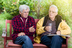 Senior men in park. Two senior men sitting on bench in the park and talking stock photography