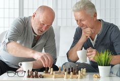 Senior men  playing chess. Two senior men having fun and playing chess at home Stock Images