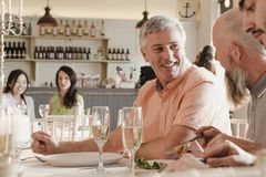 Senior Men Socialising At A Dinner Party. Senior men are socialising at a dinner party while eating their starters royalty free stock photography