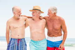 Senior men standing at the beach Stock Images