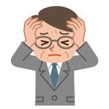 Senior men suffering from holding their heads stock illustration