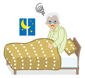 Senior men suffers Insomnia Royalty Free Stock Photo