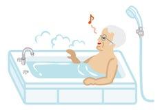 Senior Men taking a bath. Simple Vector Illustration vector illustration