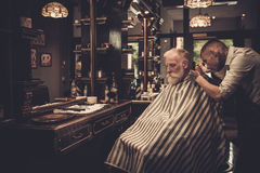 Senior man visiting hairstylist in barber shop. Stock Photography
