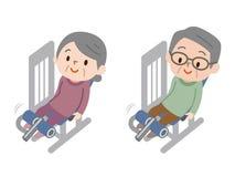 Senior men and women exercising fitness exercises stock illustration