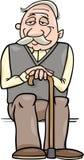 Senior mit Stockkarikaturillustration Lizenzfreie Stockbilder