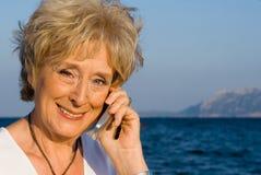 Senior mobile phone royalty free stock photo