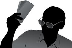 Senior with money illustration Stock Image