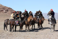 Senior Mongolians horsemen in traditional clothing Royalty Free Stock Photos