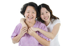 Senior mother and adult daughter Stock Photo