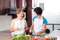 Senior mother and daughter cooking Stock Photography