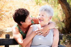 Senior mother and daughter having fun Royalty Free Stock Image