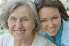 Senior mother and daughter outdoor Royalty Free Stock Photography