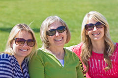 A senior mother with her adult daughters Royalty Free Stock Images