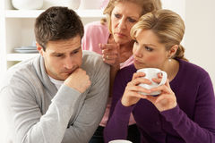 Senior Mother Interferring With Couple royalty free stock photo