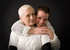 Senior mother with mature daughter Royalty Free Stock Images