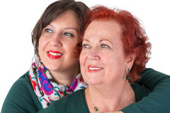 Senior Mother and Middle Age Daughter Close to Each Other stock images
