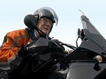Senior on a motorbike Stock Photo