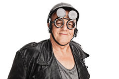 Senior motorcyclist with black goggles Royalty Free Stock Photography