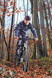 Senior on Mountainbike in forest Royalty Free Stock Photos