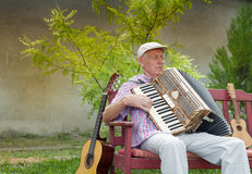 Senior music player Royalty Free Stock Image