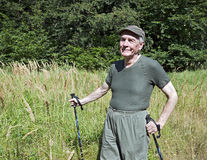 Senior nordic walking Stock Images