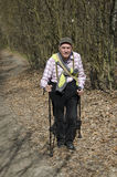 The senior nordic walking Royalty Free Stock Photography