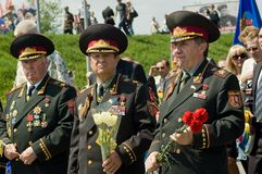 Senior officers at Victory Day celebration in Kyiv, Ukraine Stock Photos