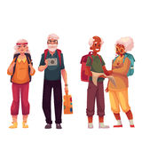 Senior, old couple travelling with backpacks Royalty Free Stock Image