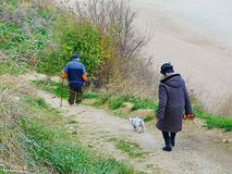 Senior old couple walking nature fresh air, outdoor people active person Royalty Free Stock Images