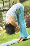 Senior old woman doing yoga in park Royalty Free Stock Photos
