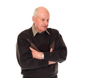 Senior older man looking down. Senior older retired man on white background looking down Royalty Free Stock Photography