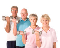 Senior older people lifting weights Royalty Free Stock Image