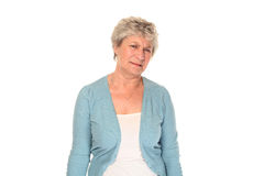 Senior older woman grimacing Stock Photo