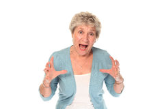 Senior older woman shouting Stock Photos