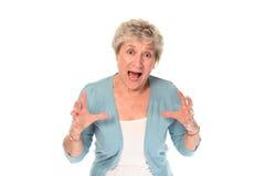 Senior older woman shouting Stock Photos