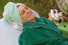 A senior in the open air spa studio Royalty Free Stock Photo